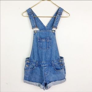 New Look Denim Overalls Shorts Romper